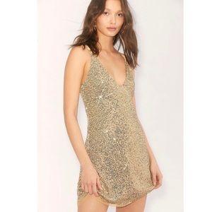 NWT Free People Gold Rush Mini Sequin Dress Sz M
